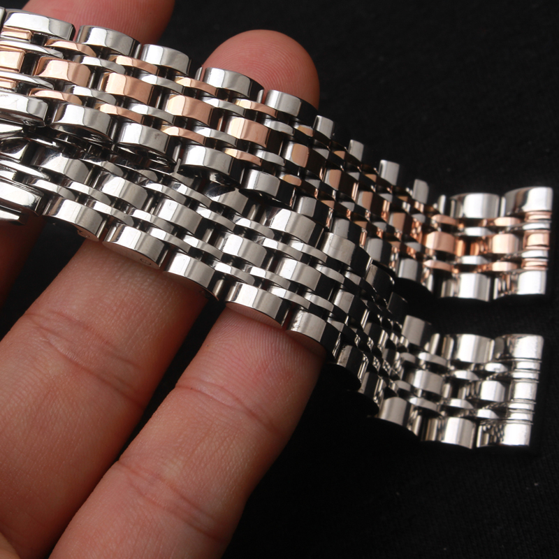 Replacement Solid LINKS Stainless steel Watchbands metal watch strap bracelet butterfly buckle 14MM 16MM 18mm 20mm 22mm 24mm watchbands 16mm 18mm 20mm 22mm 24mm silver black solid links curved ends stainless steel watch band strap folding clasp for men
