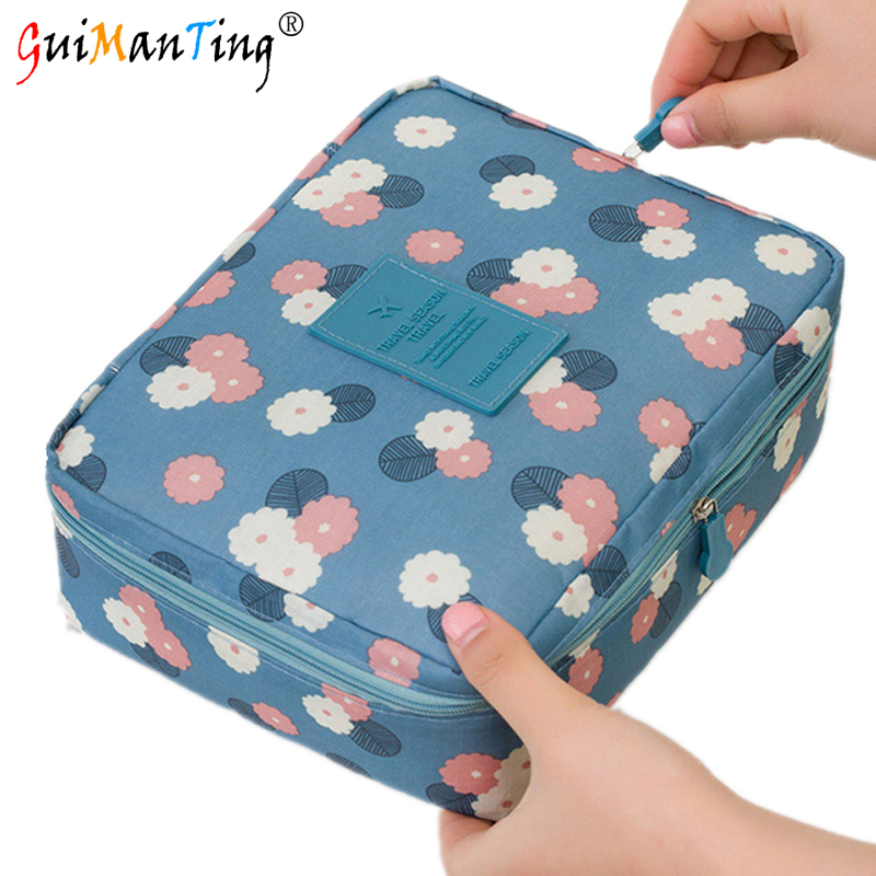 Cosmetic Case Make Up Organizer Toiletry Storage Rushed Floral Nylon Zipper Travel Wash Pouch Luxury Handbags Women Bag Designer fadixi 1717 convenient nylon toiletry storage organizer wash bag for travel blue