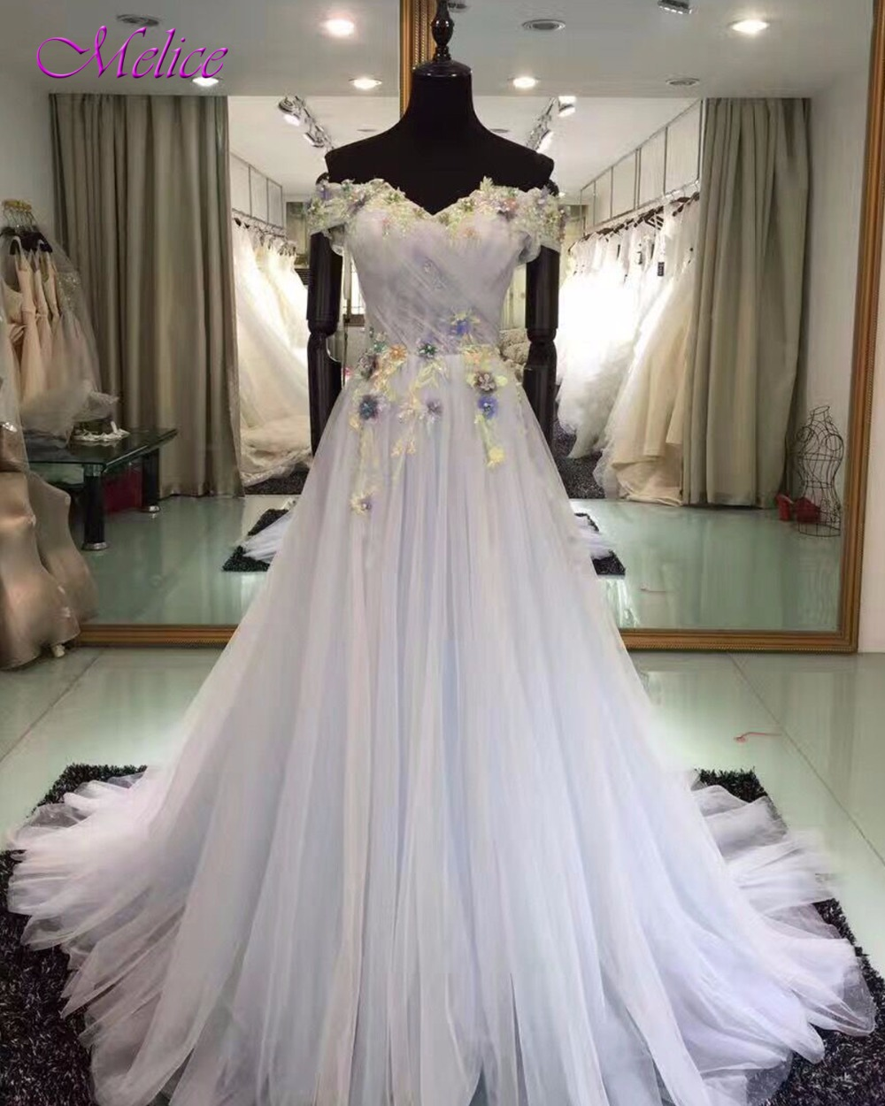 Melice Boat Neck Appliques Beaded Lace Up A-Line   Prom     Dresses   2019 Graceful Tulle Pleated Party Gown Vestido de Festa Plus Size