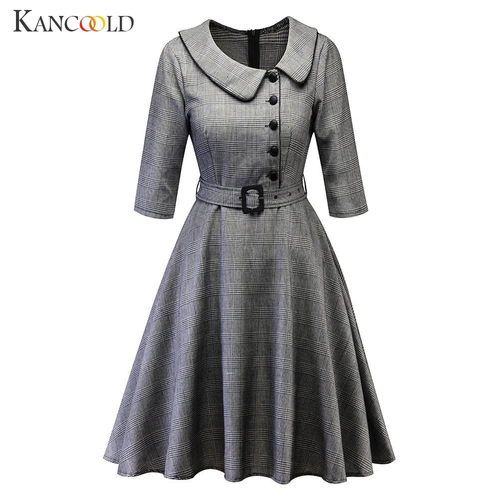 KANCOOLD Dress Women Vintage Princess Plaid Peter Pan Collar Irregular Dress Party Aline Swing fashion new Dress women 2019JAN25
