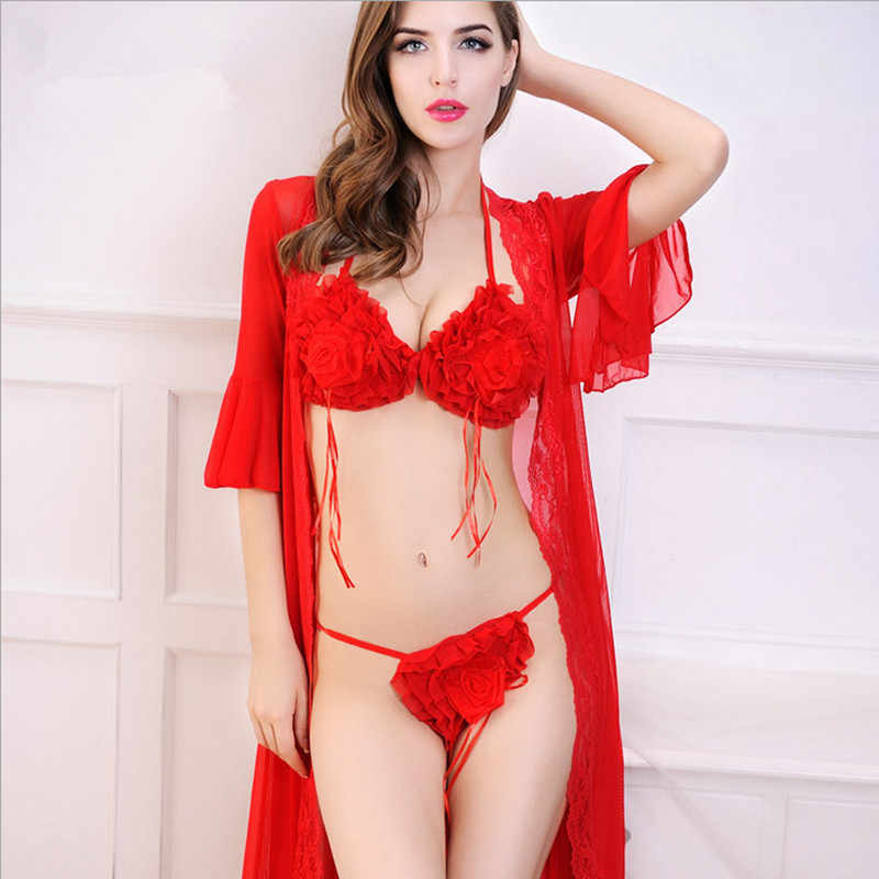 372cd98aa6d 2019 women sexy sets lace robe black red color rose flower with bra and  underwear top quality for ladies