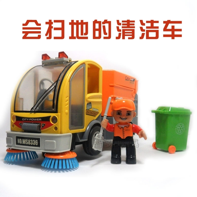 Child electric toy car garbage truck clean car road sweeper universal wheels toy car