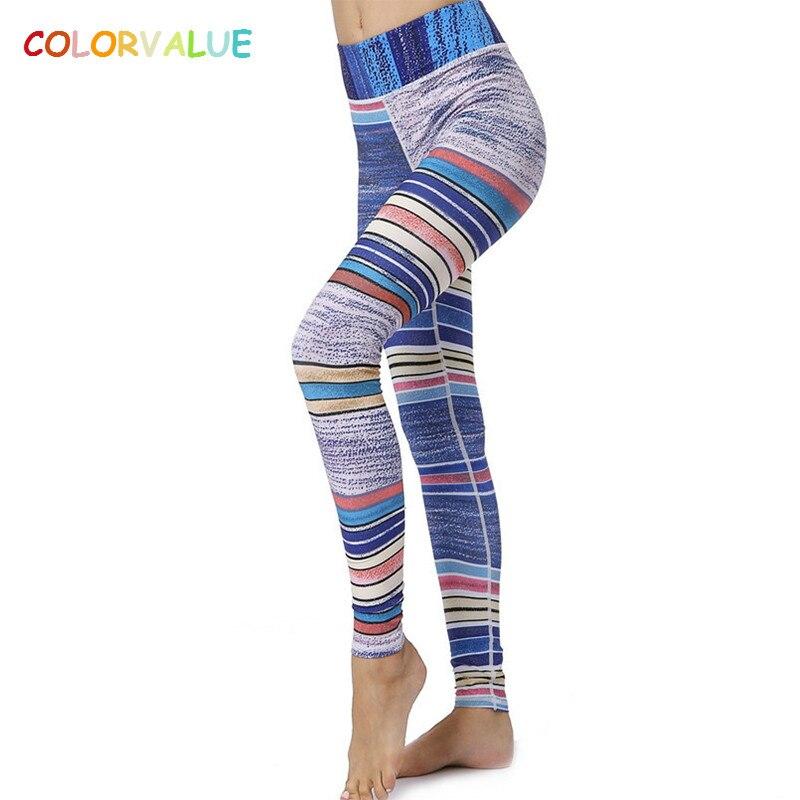 Colorvalue Rétro Givré Ligne Imprimé Yoga Pantalon Femmes Élargir Taille Fitness Course Collants Extensible Workout Sport Gym Leggings