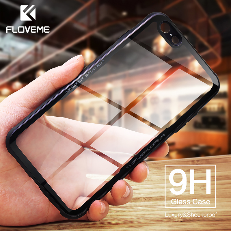 FLOVEME Shockproof Tempered Glass Phone Case For iPhone 6 6s Anti-knock Protective Glass Cases For iPhone X 7 8 Plus Cover CoqueFLOVEME Shockproof Tempered Glass Phone Case For iPhone 6 6s Anti-knock Protective Glass Cases For iPhone X 7 8 Plus Cover Coque
