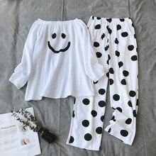 ใหม่ชุดนอนสตรี 100% ผ้าฝ้ายเกาหลีหลวมแขนยาวกางเกงบางๆ Minimalist 2 ชิ้นชุดนอนผู้หญิง Pijama ชุดสูท