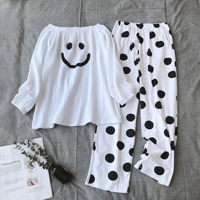 새로운 잠옷 여성 100% 코튼 한국어 느슨한 긴 소매 바지 얇은 캐주얼 미니멀리스트 투피스 잠옷 여성 pijama 홈 슈트