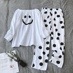 Image 1 - Neue Pyjamas frauen 100% Baumwolle Koreanische Lose Langarm Hosen Dünne Beiläufige Minimalistischen Zwei stück Pyjamas Frauen Pijama hause Anzug