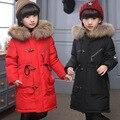 2016 модный бренд девушки пуховики верхняя одежда Новый Мальчик зимой вниз Пальто толщиной утка вниз Теплый девочка куртки-30 градусов