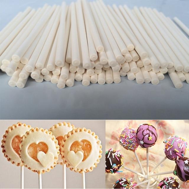 100 o 50 pz Solido Nucleo di Carta Lollipop Spiedi 100mm * 3.5mm Bastone Lolly p