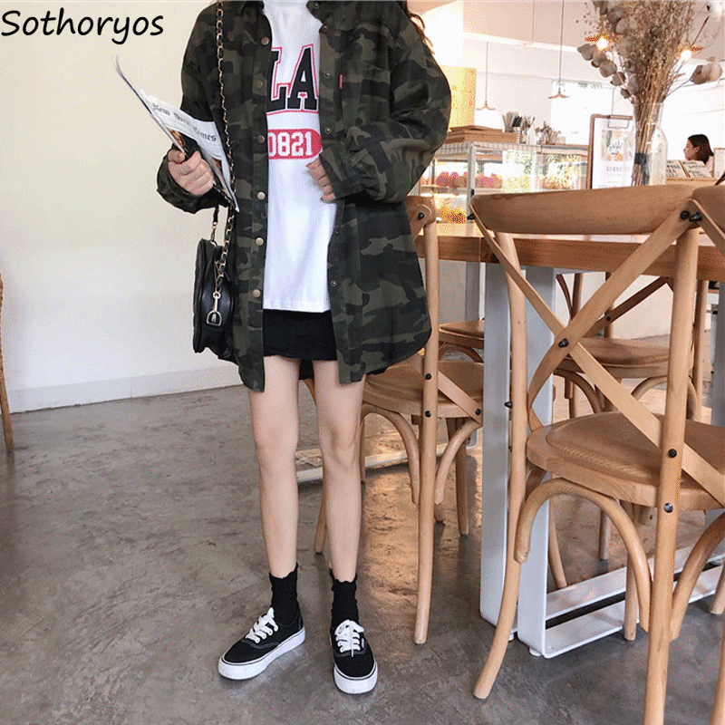 Jackets   Women Camouflage Leisure Pockets Single Breasted Loose Korean Coats Womens Cotton All-match BF Harajuku   Basic     Jacket