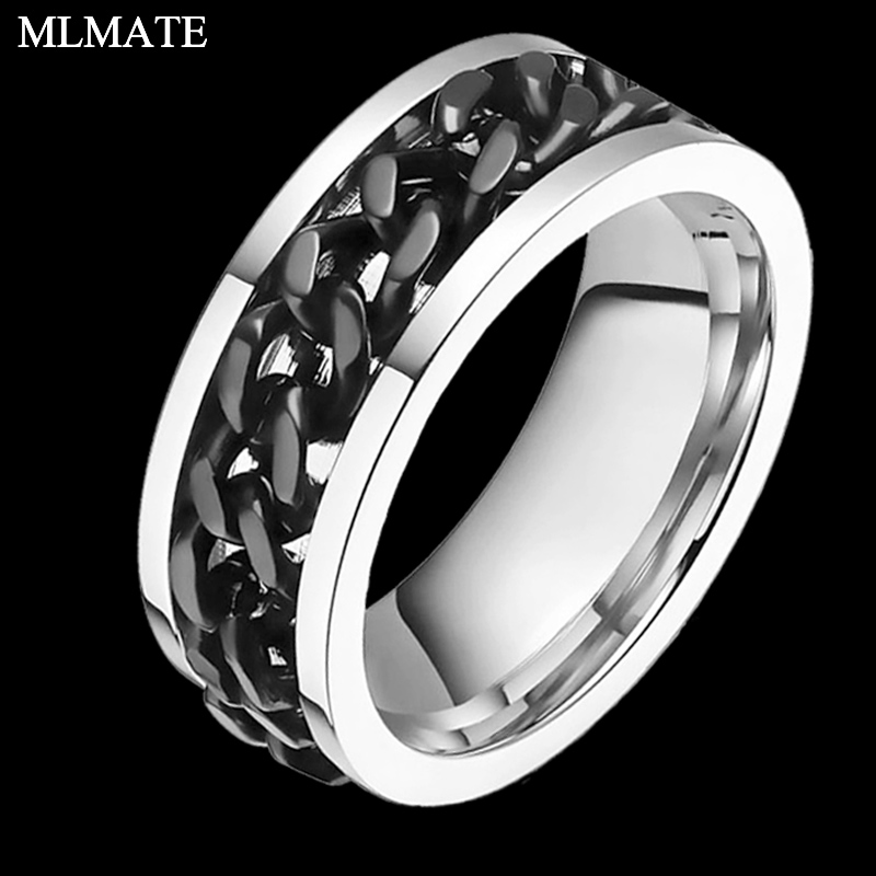 Jewelry & Accessories Engagement Rings 8mm Mens Gold Black Silver Color 316l Stainless Steel Titanium Ring Cuban Link Chain In Middle Wedding Spinner Rings