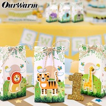 hot deal buy ourwarm 60pcs safari animal favor boxes candy boxes kids jungle themed birthday party decoration event party supplies