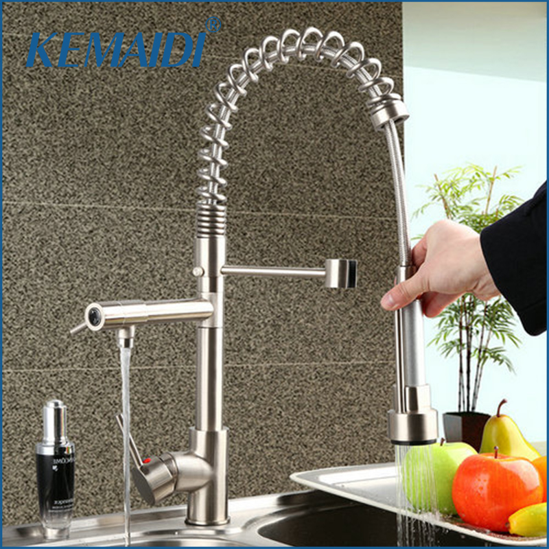 KEMAIDI Brushed Nickel Kitchen Faucet Pull Out Down Swivel 360 Hot/Cold Brass Water Tap Sink Torneira Cozinha Faucet,Mixer Tap jomoo brass kitchen faucet sink mixertap cold and hot water kitchen tap single hole water mixer torneira cozinha grifo cocina