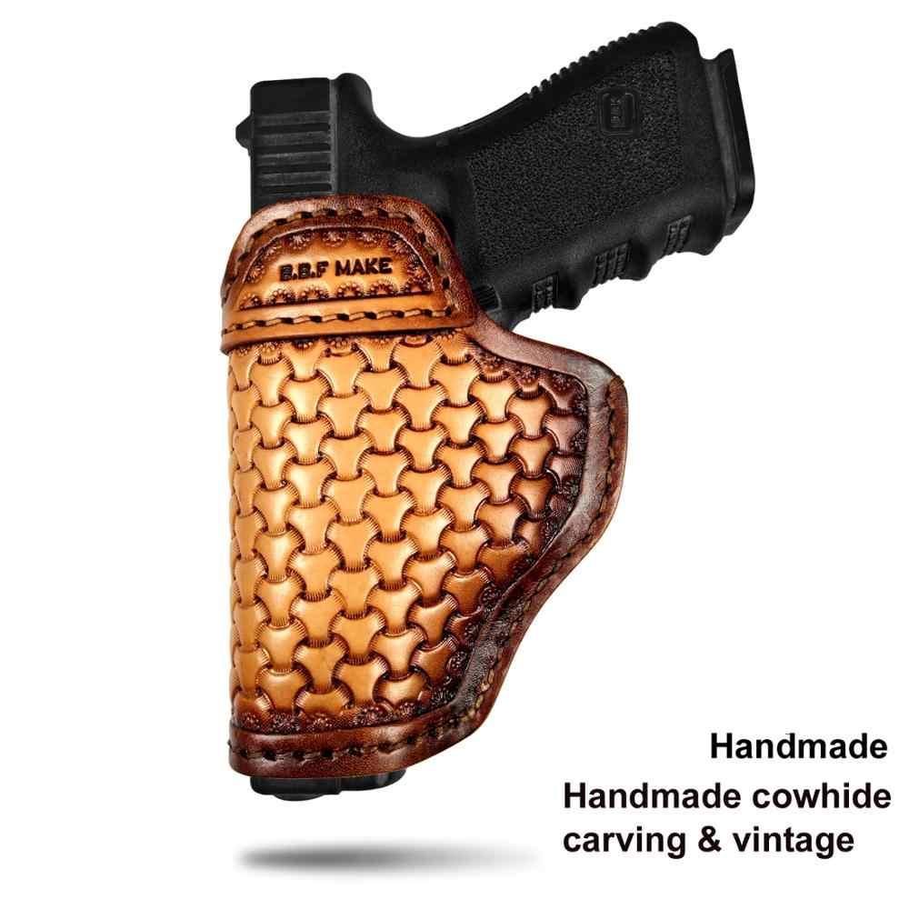 BBF Make جعل بندقية الحافظة جلدية اليدوية مسدس حالة ل M & P درع غلوك 17 19 22 23 25 26 27 32 33 42 43/سبرينغفيلد XD-S IWB