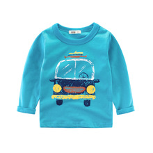 Long Sleeve Cotton T-Shirts Cute Car Design