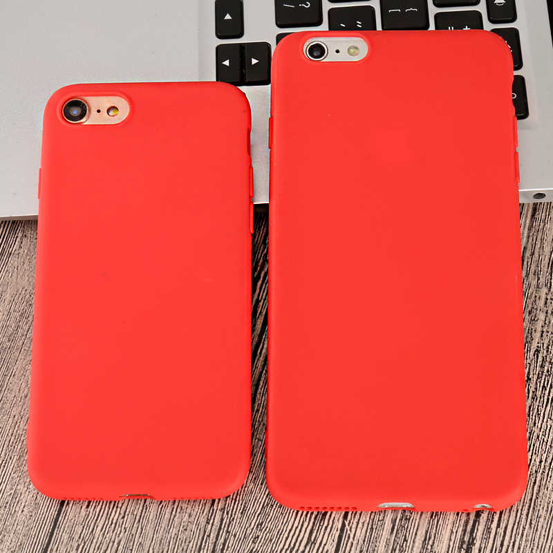 the latest eed64 738bc Red Color Phone Case For Iphone X XS Max XR X Silicone Matte Full Back  Cover For Iphone 8 7 6 6S Plus 5 5s Se Cases Sheer Bags