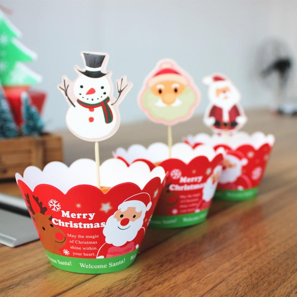 Image 2 - 24 ピースケーキトッパー   カップケーキラッパージンジャーブレッドマンサンタ鐘クリスマス装飾用好意ケーキ装飾    グループ上の ホーム