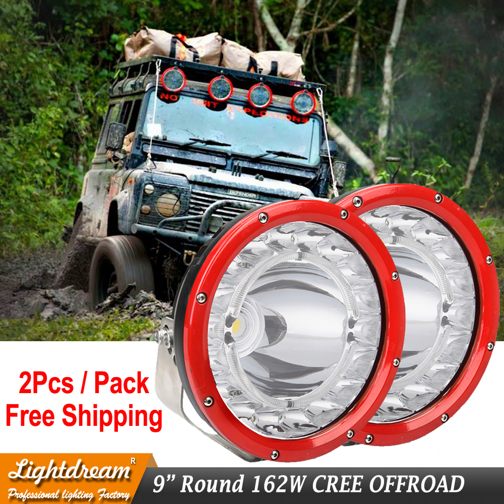 Pair Round 9inch 162W Led Driving Work Light 4x4 Offroad Lights For Truck 4WD 4x4 SUV ATV CAR 12V 24V External Lights With DRL 1 pair car led lights 12 24v drl head lights 8w turn light strip