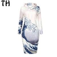 Wave Print Fleece Hoodies Women Spring Autumn Winter Dress Sweatshirt Pullover Dresses 161812