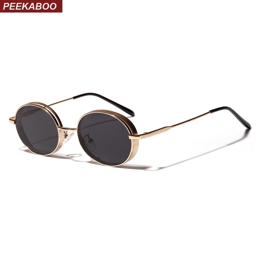 Peekaboo oval vintage gafas de sol 2019 mujeres regalo rojo Oro Negro retro gafas de sol para hombres de metal uv400 unisex