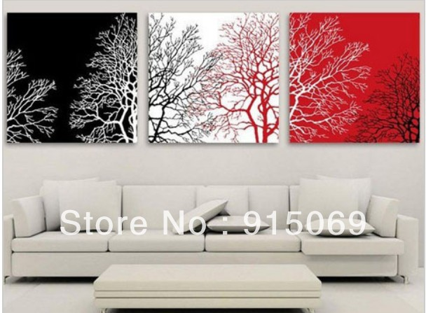 150x50cm Handmade Red Black White Tree Modern Landscape Oil Painting Canvas  Modern Art Wall Home Decor