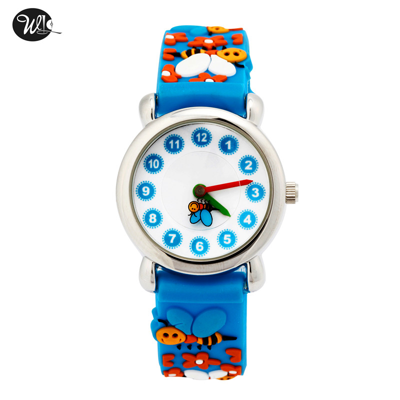 WL Kids Watches 3D Cute Cartoon Waterproof Sport Silicone Children Toddler Wrist Watch Time Teacher Birthday Gift 3-10 Year Boys