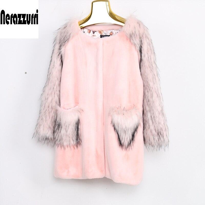 Avec Fausse Renard Rose Taille Paquets Pink Élégant Manches D'hiver Femmes Manteau Grande Nerazzurri 6xl Fourrure Veste Et En De 7xl 5xl Fluffy wB4TEqZx