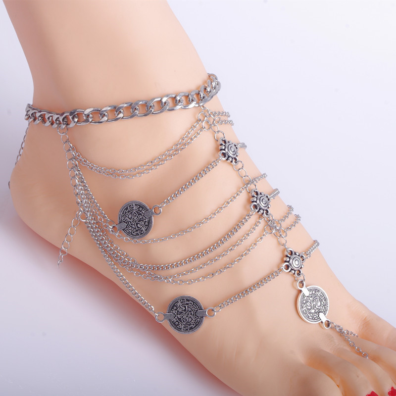 1 PC Anklet Foot Jewelry Antique Multilayer Silver Coin Gypsy Beachy EthnicTribal Anklet Bracelet Hippie Ethno