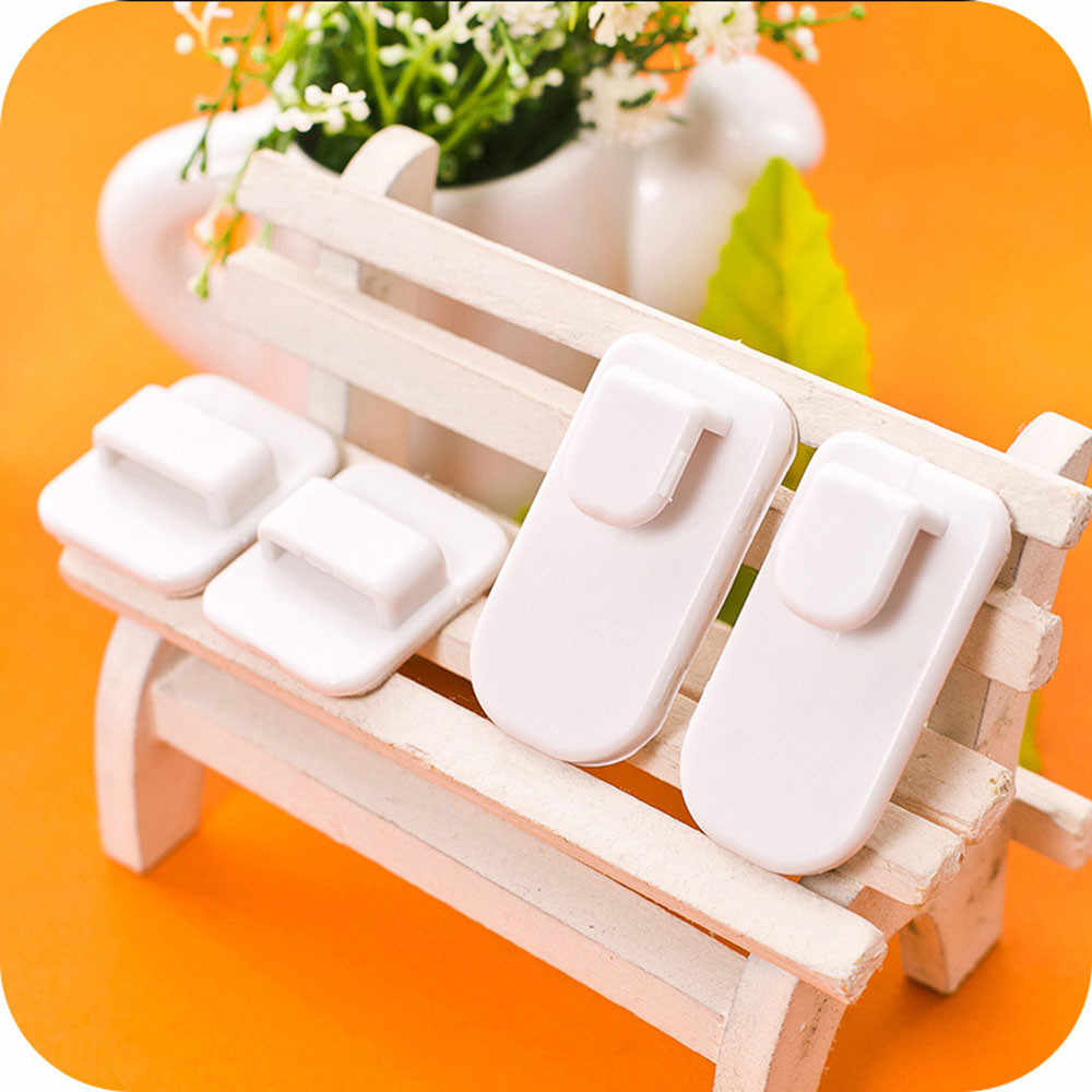 4Pcs Eco Friendly Plastic Sticky Hooks Set TV Air Conditioner Remote Control Hanger Organizer Home Space Saving Decor