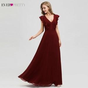 Image 1 - Ever Pretty Burgundy Bridesmaid Dresses A Line V Neck Ruffles Elegant Wedding Guest Dresses EP07902BD Vestidos Fiesta Boda 2020