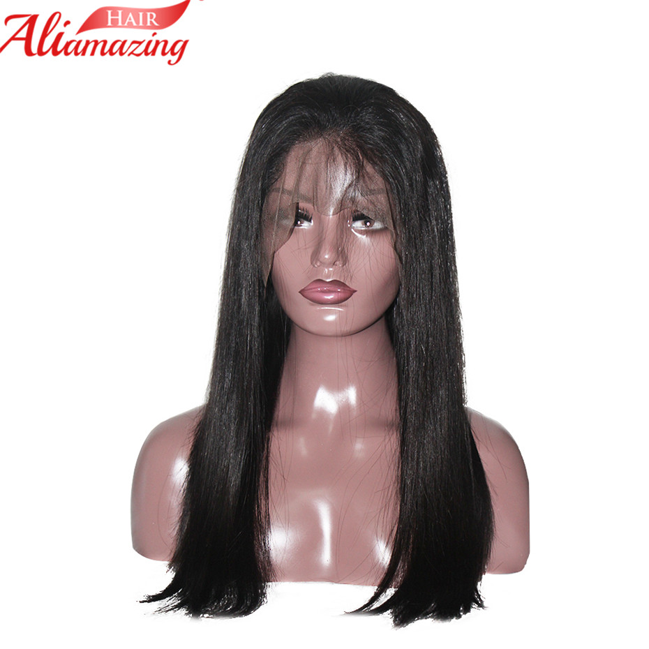 Ali Amazing Hair Straight Brazilian Human Lace Front Wigs With Baby Hair Pre Plucked Glueless For Women Non Remy 350% Density