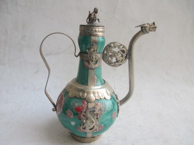 Chinese ancient Tibet copper longfeng monkey ceramic teapot/