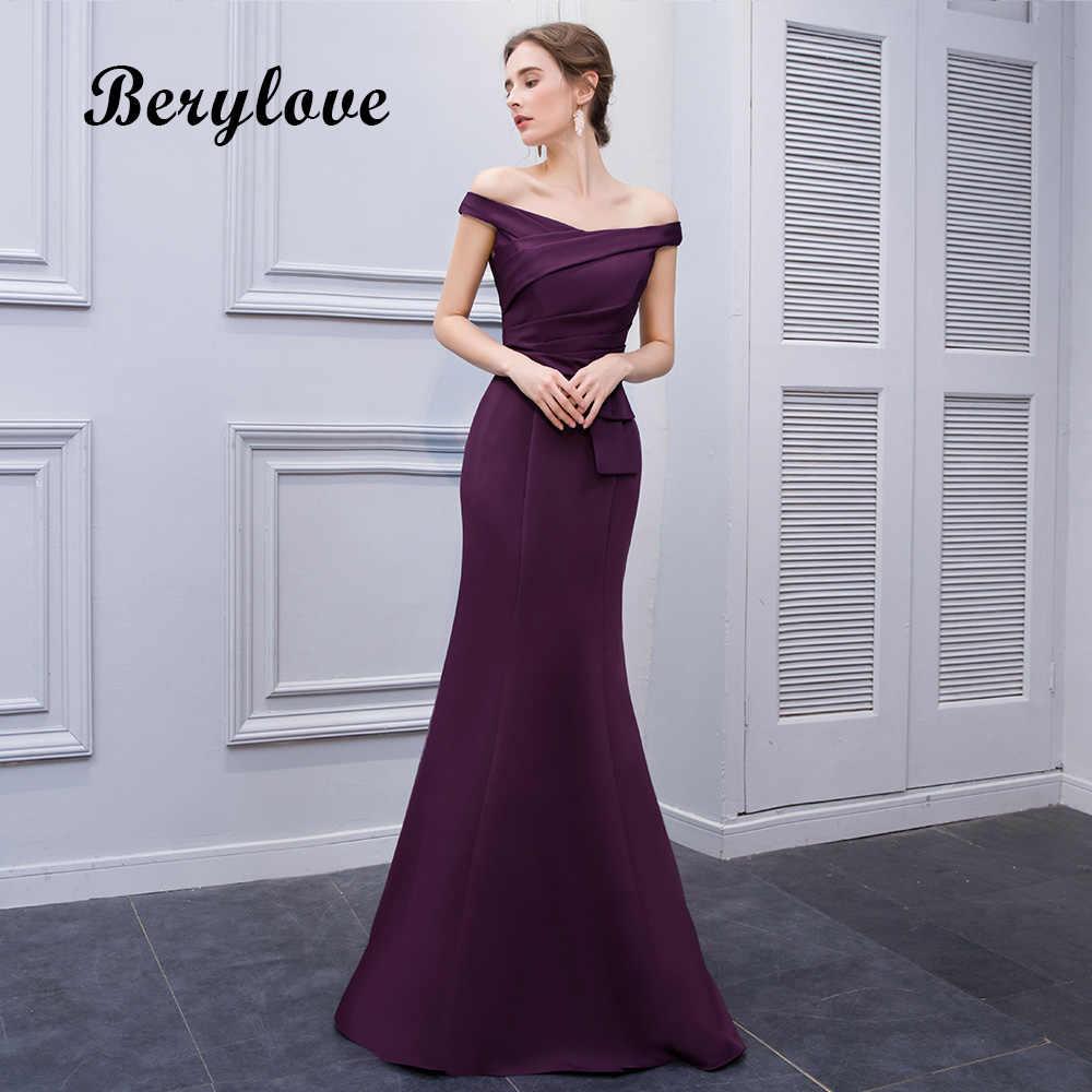 11c390a8e46 Простой Русалка Фиолетовый атласные вечерние платья 2019 длинные с  открытыми плечами