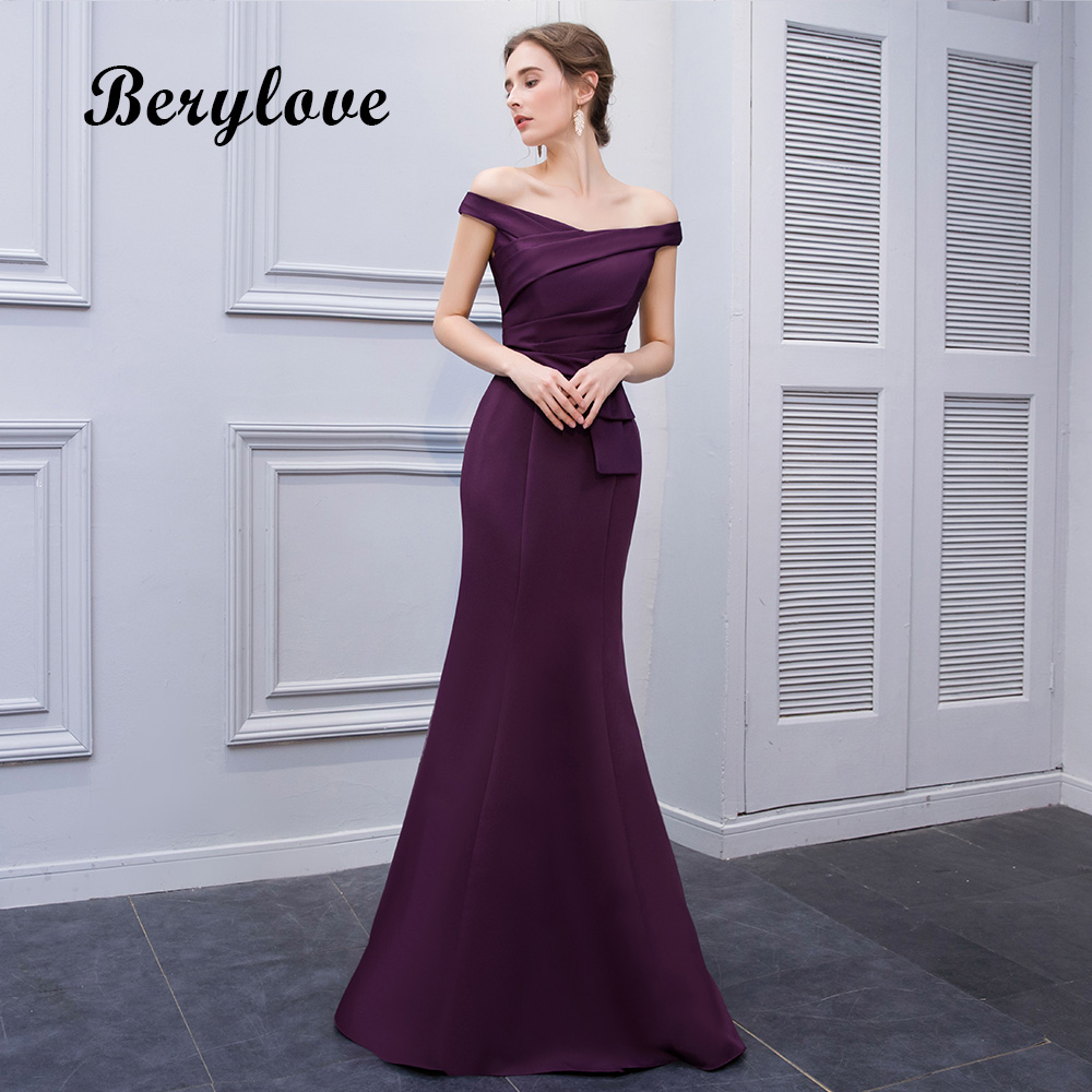 BeryLove Simple Mermaid Purple Satin Avondjurken 2018 Lange Off - Jurken voor bijzondere gelegenheden