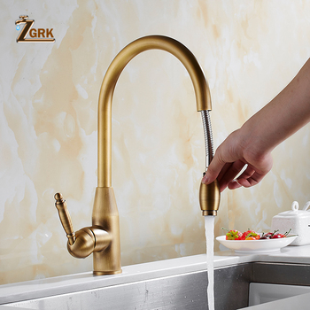 ZGRK Kitchen Faucet Antique Bronze Brass Kitchen Sink Pull Out Faucets Sink Tap Mixer With Pull Out Shower Head kitchen faucets single handle pull out rotate swivel kitchen tap sink faucet brass sink mixer tap