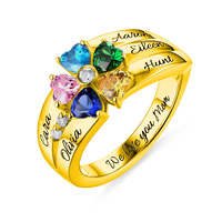Wholesale Engraved Women 5 Heart Shaped Birthstones Ring Gold Color For Her Ring Size 5 12 Mother's Day Jewelry