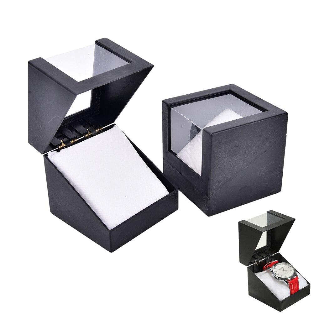 Black Wrist Watch Box 78*78mm Transparent Case Valentine's Day Anniversary Gift Plastic Display Storage Holder