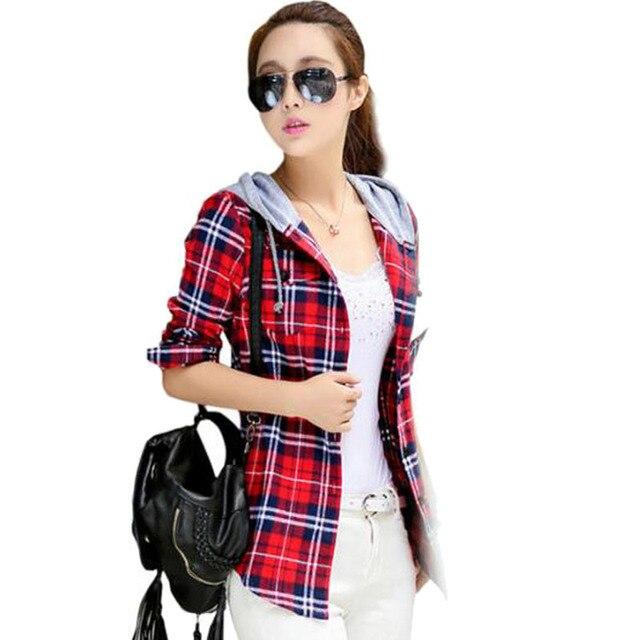 34d85f687 Moda feminina Casual Com Capuz Manga Comprida Blusas Camisa Xadrez De  Flanela Vermelha Impressão Mulheres Blusas