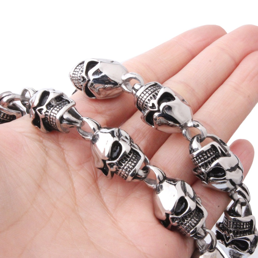 30 Inch Huge Silver Black 316L Stainless Steel Pirate Skull Necklace Mens Biker Link Chain Cool Jewelry mens jewelry 316l stainless steel silver silver cross skeleton cool lion pendant necklace black beads fashion stone rosary chain