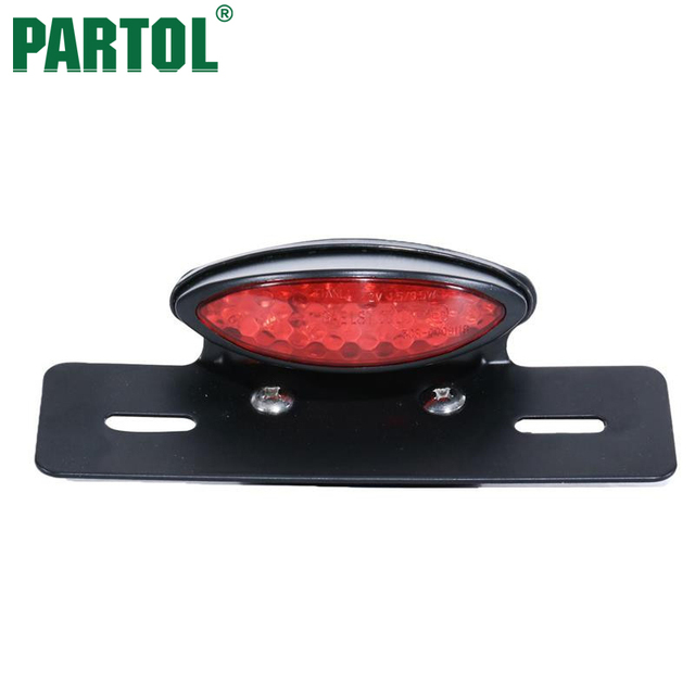 Partol Motorcycle LED Tail Light With License Plate Holder Adjustable Red PC Lens 12V Integrated Motorbike  sc 1 st  AliExpress.com & Aliexpress.com : Buy Partol Motorcycle LED Tail Light With License ...