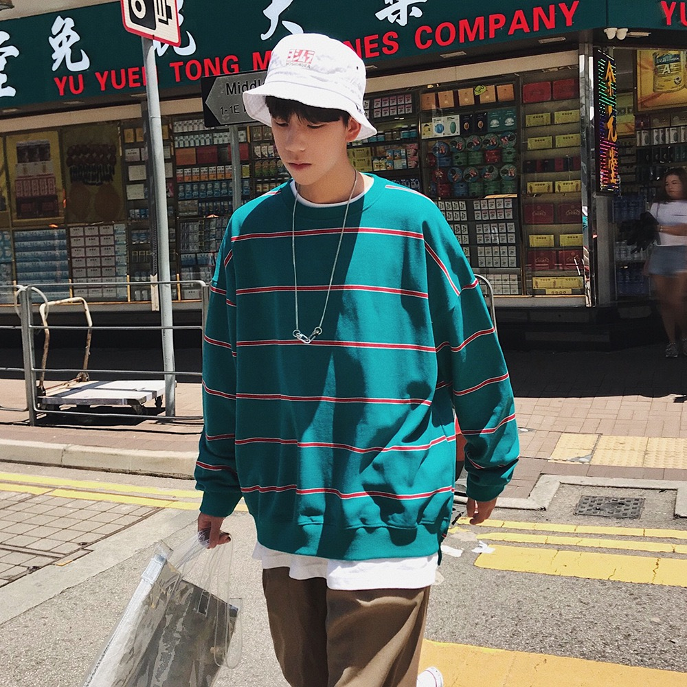 Men 39 s Spring Cotton Round Collar Striped Sweatshirt Harajuku Style Trend Solid Color Color Stripe College Student Capless cota in Hoodies amp Sweatshirts from Men 39 s Clothing