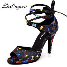 Ladingwu New Modern Floral Satin Salsa Dance Shoes Woman Girls Simple Style Latin Soft Bottom Ballroom