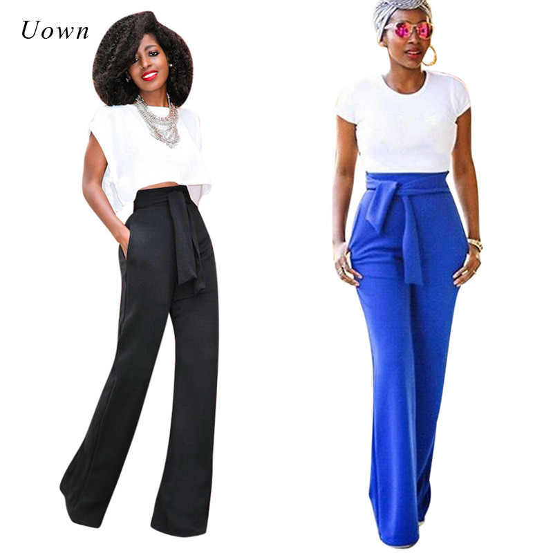 Blue Black Wide Leg Pants Trousers Women High Waist Bow Tie Autumn Fashion Loose Formal Career ...