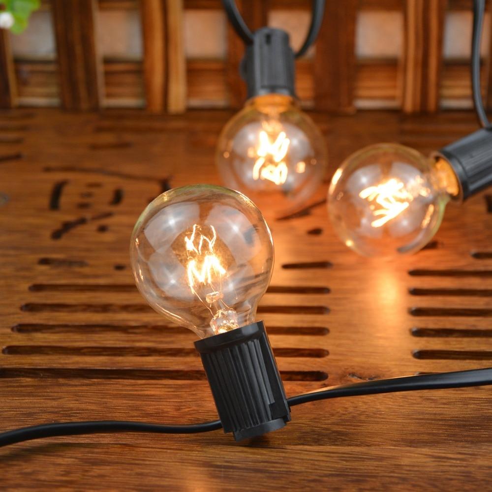25Ft G40 Globe ampoule chaîne lumières avec 25 verre Vintage ampoule extérieure Patio jardin guirlande décorative fée lumières de noël