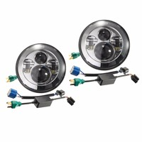 2PCS 7 Inch Chrome Projector Hi Lo Motorcycle LED Headlight For Harley Davidson Jeep Wrangler H4
