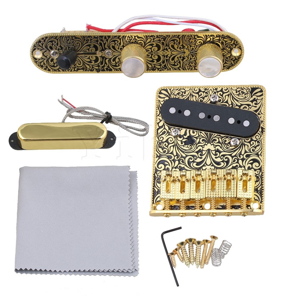 Yibuy Gold & Black Pre-wired Control Plate 3 Way Switch Knobs & Tremolo Bridge & Pickup Set for Electric Guitar Replacement yibuy free shipping gold tremolo bridge set for electric guitar