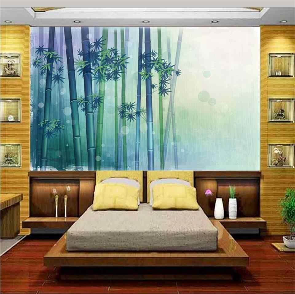 Пользовательские 3d фото обои настенные комнаты ручная роспись бамбуковый лес 3d картина Диван ТВ фон стены нетканые настенные Стикеры
