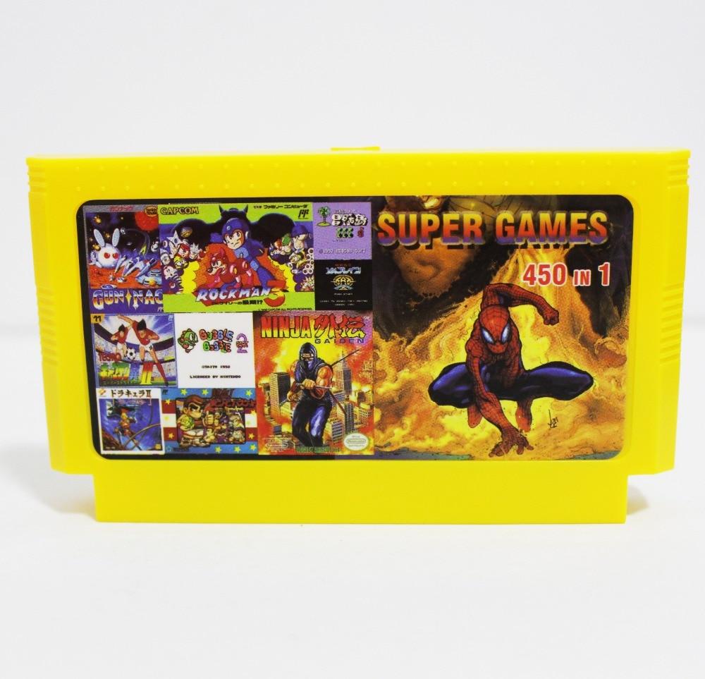 CHAUDE 450 Dans 1 Spiderman 1/2 + SKY KID + Puce et Dale 1/2/3 60 Broches Carte de Jeu Pour 8 Bits Jeu lecteur