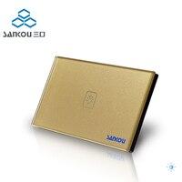 US AU Standard SANKOU Wall Light Touch Switch AC220V AC110V 1Gang 1Way Golden Crystal Glass Panel
