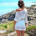 2016 fashion Women Summer half Sleeve loose Sexy Lace Hollow out Knit Crochet bikini Cover up Beach Dress free belt